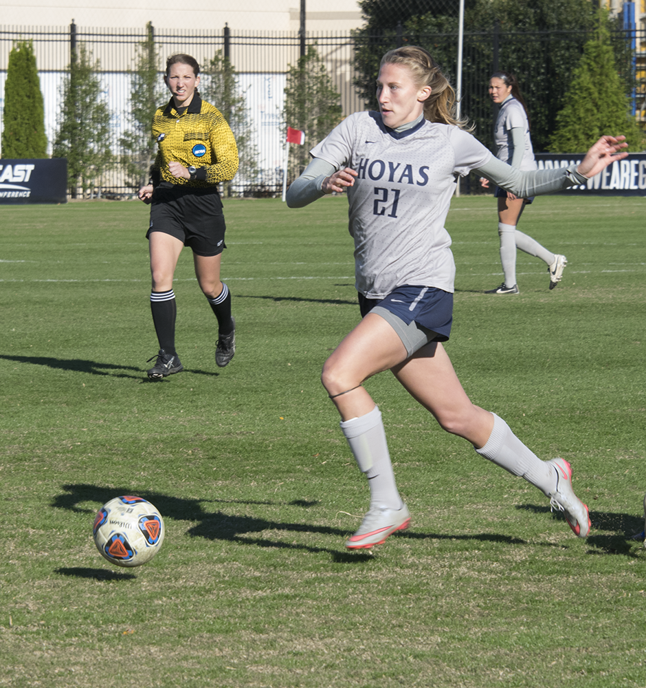 ROBERT CORTES FOR THE HOYA  Junior forward Grace Damaska scored the goal that tied the game and forced overtime in Georgetown's loss to Hofstra in the first round of the NCAA tournament.