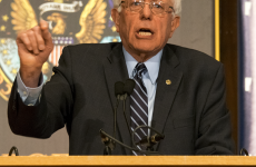 ROBERT CORTES/THE HOYA Sen. Bernie Sanders (I-Vt.), a Democratic presidential candidate, addressed a Gaston Hall audience that could not accommodate all who started lining up before 6 a.m. Thursday.