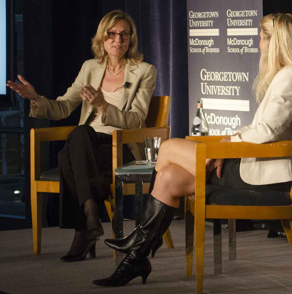 LAUREN SEIBEL FOR THE HOYA President of the BBC Worldwide North America Ann Sarnoff (GSB '83) discussed the future of television at an event Thursday.