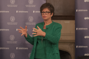 NAAZ MODAN/THE HOYA The Institute of Politics and Public Service hosted a talk with Senior Adviser to President Obama Valerie Jarrett, moderated by IPPS fellow Buffy Wicks, in Copley Formal Lounge on Tuesday.