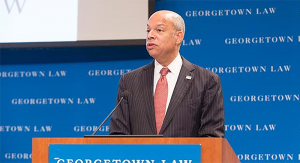 GEORGETOWN UNIVERSITY U.S. Secretary for Homeland Security Jeh Johnson delivered the keynote address at the 12th annual Immigration Law and Policy Conference at Georgetown University Law Center's Hart Auditorium on Oct. 29.