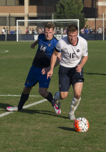 NATE MOULTON/THE HOYA Junior forward Brett Campbell scored a goal in Georgetown's 2-1 win over Creighton on Thursday. Campbell has four goals on the season.