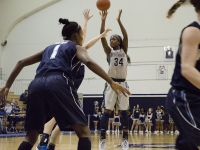 FILE PHOTO: STANLEY DAI/THE HOYA Sophomore guard Dorothy Adomako scored a game-high 23 points and pulled down seven rebounds in Georgetown's 71-60 victory over UMES.