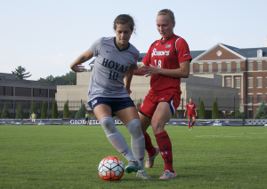 FILE PHOTO: ELIZA MINEAUX FOR THE HOYA Sophomore midfielder Rachel Corboz was named the Big East Midfielder of the Year after leading Georgetown with 10 goals and eight assists.