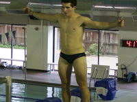 FILE PHOTO: CAROLINE KENNEALLY/THE HOYA Junior diver Jared Cooper-Vespa won the men's three-meter diving competition at Georgetown's meet against William & Mary.