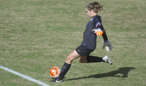 CAROLINE KENNEALLY/THE HOYA Senior goalkeeper Emma Newins recorded three saves in Georgetown's 3-1 victory over Creighton last Friday. Newins has recorded 45 saves thus far in the 2014-15 season and boasts a .682 save percentage.