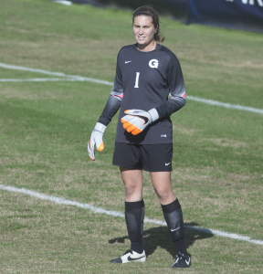 FILE PHOTO: CAROLINE KENNEALLY FOR THE HOYA Graduate student goalkeeper Emma Newins saved one penalty kick during the penalty shootout that decided the Big East tournament semifinal match.