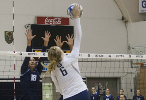 FILE PHOTO: SOPHIE FAABORG-ANDERSEN/THE HOYA Freshman outside hitter Liv King recorded her first career double-double with 15 kills and 11 digs in Georgetown's 5-set victory over Big East rival Seton Hall. King has 246 kills on the season.
