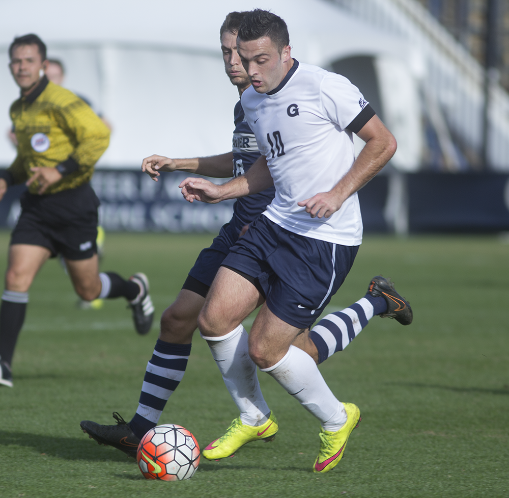 KARLA LEYJA/THE HOYA Senior forward Brandon Allen scored his 10th goal of the season on Thursday to lift the Hoyas over Xavier in a 1-0 Big East semifinals.