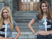 STEPHANIE YUAN FOR THE HOYA  Julia Greenzaid (COL '17), left, and Laura Fawzi (MSB '17) started their own business of selling customized T-shirts embroidered with daisies and zippers. The company has expanded to create merchandise for many colleges across the country such as Auburn and Michigan State University.