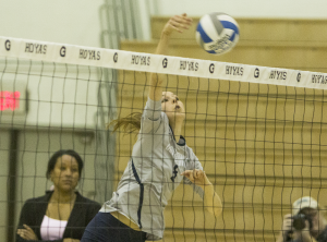 FILE PHOTO: STANLEY DAI/THE HOYA Senior outside hitter Lauren Saar has started 20 matches this season, recording 151 kills. Saar, who is the only senior on Georgetown's roster, recently recorded her 1,000th career dig.