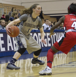 FILE PHOTO: JULIA HENNRIKUS/THE HOYA Senior guard Katie McCormick averaged 7.9 points per game, 3.1 rebounds per game and led the team with 53 3-point shots made.