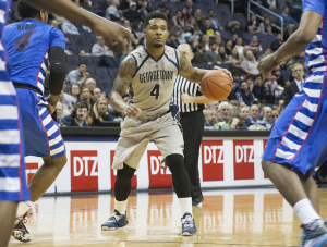 FILE PHOTO: MICHELLE XU/THE HOYA Senior guard D'Vauntes Smith-Rivera has led Georgetown in scoring for two consecutive seasons. He scored 16.3 points per game in his junior season. He is a co-captain for the Hoyas for the second year running.
