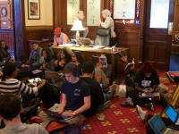 Student Activists Sit-In Outside DeGioia's Office