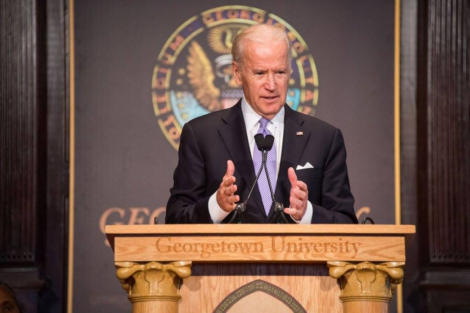 Vice President Joe Biden speaks at the Interfaith Gathering for Solidarity, Understanding and Peace in Gaston Hall on Wednesday. GEORGETOWN UNIVERSITY