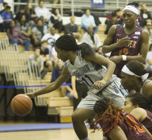 FILE PHOTO: KARLA LEYJA/THE HOYA Freshman guard Dionna White scored a team-high 17 points in Georgetown's loss to St. Bonaventure. White is averaging 14.1 points per game this season.