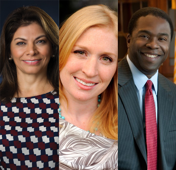 COURTESY THE INSTITUTE OF POLITICS AND PUBLIC SERVICE Laura Chinchilla, Jackie Kucinich and Alvin Brown are among the five new fellows for the spring 2016 class in the IPPS program.