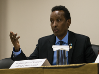 ROBERT CORTES FOR THE HOYA Somali Ambassador to the United States Ahmed Isse Awad discussed U.S.-Somali relations Tuesday in the Intercultural Center.