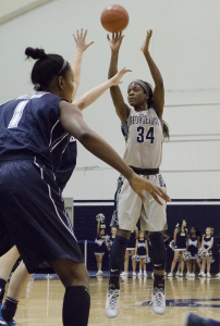 FILE PHOTO: STANLEY DAI/THE HOYA Sophomore guard Dorothy Adomako scored 10 points and grabbed five rebounds in the Georgetown Hoyas' 69-54 loss on the road to the St. Bonaventure Bonnies.
