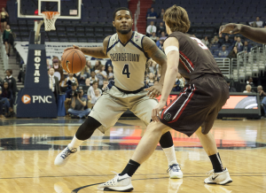 FILE PHOTO: MICHELLE XU/THE HOYA Senior guard and co-captain D'Vauntes Smith-Rivera scored 20 points in Georgetown's win over Xavier on Tuesday.