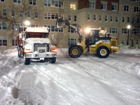 OWEN EAGAN FOR THE HOYA Facilities workers tasked with shoveling snow and other services had to stay on campus overnight last weekend.
