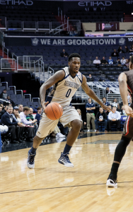 FILE PHOTO: MICHELLE XU/THE HOYA   Sophomore guard L.J. Peak has fouled out seven times so far this season. Georgetown committed 27 fouls against UConn on Jan. 23.