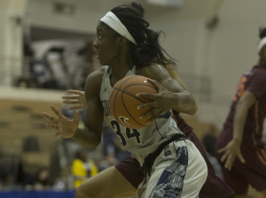 KARLA LEYJA/THE HOYA Sophomore guard Dorothy Adomako is second on the team in both points and rebounds per game with 13.8 and 5.6, respectively.
