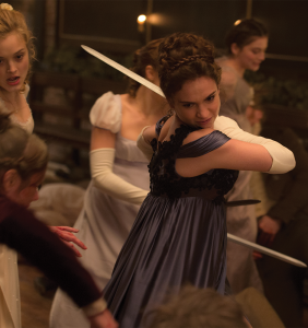 "LIONSGATE Lily James plays a reimagined Elizabeth Bennet, who becomes attracted to Mr. Darcy while the two fight against an army of zombies in 19th century England, in the film adaptation of Seth Grahame-Smith's 2009 parody of Jane Austen's ""Pride and Prejudice."""