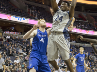 CLAIRE SOISSON/THE HOYA Freshman forward Marcus Derrickson scored 10 points and grabbed four rebounds in Georgetown's win over Creighton on Tuesday night.