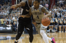 FILE PHOTO: ISABEL BINAMIRA/THE HOYA  Senior guard and co-captain D'Vauntes Smith-Rivera was second in points with 18 in Georgetown's previous 73-69 loss to Providence on Jan. 30.