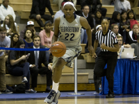 KARLA LEYJA/THE HOYA Senior guard/forward Logan Battle scored seven straight points in the third quarter of Georgetown's 75-72 win over Marquette Friday night.