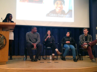 COURTESY Courtney Maduike GUWOC Outreach Chair Courtney Maduike (SFS '17) led a panel on diversity and race with Ayo Aruleba (COL '17), Asha Thanki (SFS '17), Gilda Gallardo (COL '17) and Tanner Davis (SFS '17).