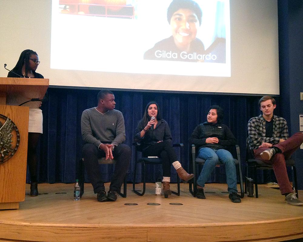 COURTESY Courtney Maduike GUWOC Outreach Chair Courtney Maduike (SFS '17) led a panel on diversity and race with Ayo Aruleba (COL '17), Asha Thanki (SFS '17), Gilda Gallardo (COL '17) and Tanner Davis (SFS '17).
