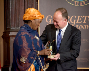 LAUREN SEIBEL/THE HOYA U.N. Special Representative of the Secretary-General on Sexual Violence in Conflict Zainab Bangura received the Hillary Rodham Clinton Award for Advancing Women in Peace and Security.