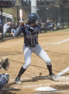 FILE PHOTO: JULIA HENNRIKUS/THE HOYA Senior infielder Grace Appelbe recorded a batting average of .237 during the 2015 season with 31 hits. She also marked 17 runs scored.