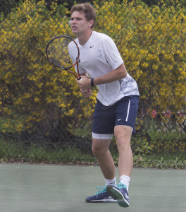 JULIA HENNRIKUS/THE HOYA   Sophomore Peter Beatty won one of Georgetown's two singles victories in the third singles slot in the team's 5-2 loss to Princeton Saturday. Beatty defeated Princeton freshman Jimmy Wasserman 6-7, 6-4, 1-0.