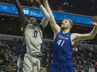 DANIEL KREYTAK/THE HOYA Sophomore guard L.J. Peak scored a season-high 22 points against Butler and is one of two Hoyas averaging double digits in points per game with 10.8.