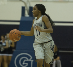 FILE PHOTO: KARLA LEYJA/THE HOYA Freshman guard Dionna White leads Georgetown in points per game with 14.6, assists per game with 3.8 and rebounds per game with 5.9. White had 17 points in Georgetown's win over Creighton Friday night.