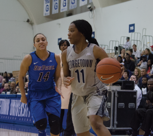 STANLEY DAI/THE HOYA Freshman guard Dionna White scored 21 points in Georgetown's 63-55 loss to St. John's last Sunday. White leads the Hoyas in points with 14.6 points per game and in rebounds with six per game.
