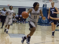STEPHANIE YUAN/THE HOYA Freshman guard Dionna White scored 17 points and grabbed nine rebounds in Georgetown's first game against Butler on Dec. 31, 2015. White averages 14.8 points per game and six rebounds per game.