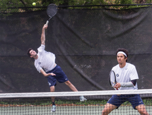 FILE PHOTO: JULIA HENNRIKUS/THE HOYA Junior Jordan Portner, left, paired with freshman Michael Chen to win the doubles point in a 6-4 decision in Georgetown's ultimate 4-3 victory over Navy last weekend.