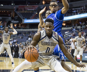 DANIEL SMITH/THE HOYA Sophomore guard L.J. Peak scored 10 points and recorded one assist in Georgetown's 72-64 loss to Seton Hall on Wednesday night. Peak is second on the team in scoring  this season, averaging 11.4 points per game.