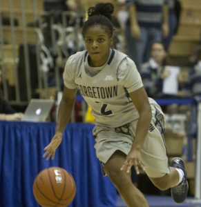 KARLA LEYJA/THE HOYA Sophomore guard DiDi Burton scored six straight points in the fourth quarter of Georgetown's 53-44 win over Creighton.