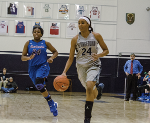 STANLEY DAI/THE HOYA Junior forward Faith Woodard scored 21 points and grabbed eight rebounds in Georgetown's victory over Seton Hall last Friday.