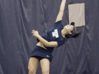 STEPHANIE YUAN/THE HOYA Freshman Risa Nakagawa won both her No. 3 singles and No. 1 doubles matches in Georgetown's 5-2 loss to St. John's last Friday.