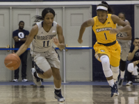 CLAIRE SOISSON/THE HOYA Freshman guard Dionna White was tied for top Georgetown scorer with 14.5 points per game and led her team in rebounds with 6.1 per game during her breakout freshman season.