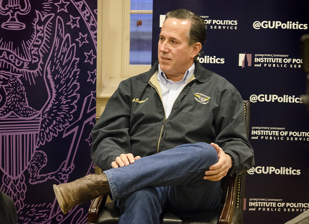 "LAUREN SEIBEL/THE HOYA Former Senator and Republican presidential candidate Rick Santorum (R-Pa.) spoke on his political career and perspective of liberal culture in a ""Reflections on Running"" event hosted by GU Politics on Monday."