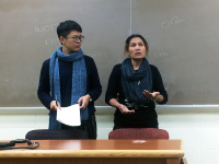 OWEN EAGAN FOR THE HOYA Former Nike worker Noi Supalai (right) and translator described her struggle to recieve fair wages.
