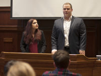 NAAZ MODAN/THE HOYA Enushe Khan (MSB '17) and Chris Risk (COL '17) were sworn in to begin their GUSA executive term on Saturday.
