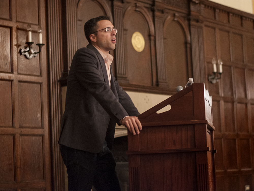 NAAZ MODAN/THE HOYA Editor-in-chief of Vox.com Ezra Klein spoke on the state of the U.S. political system in Copley Lounge on Thursday.